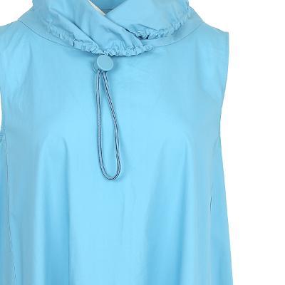 string detail high neck dress blue